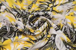 Креп плательный цветы на желтом фоне