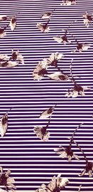Креп BARBIE набивной  Цветы на тёмно-синей полоске