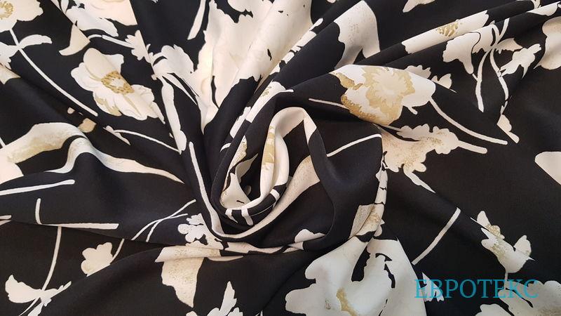 Креп плательный цветы на чёрном