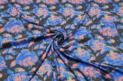 Трикотаж спортивный набивной розы синие 3D